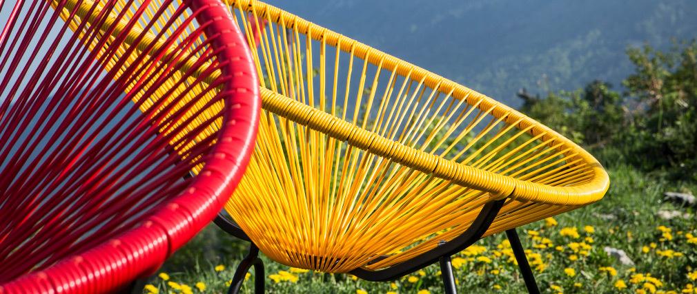 Rocking chair en fils de résine jaune BELLAVISTA
