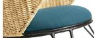 Rocking chair en rotin et tissu bleu pétrole ROBIN