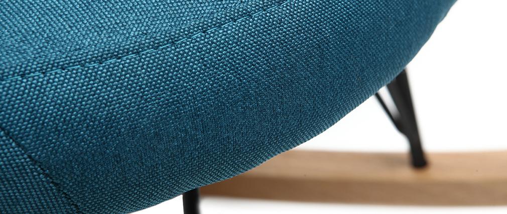 Rocking chair en tissu bleu canard avec pieds métal et frêne JHENE