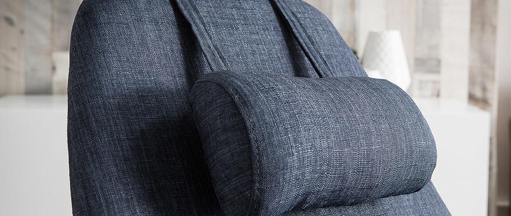 Rocking chair en tissu bleu jean avec pieds métal et frêne JHENE