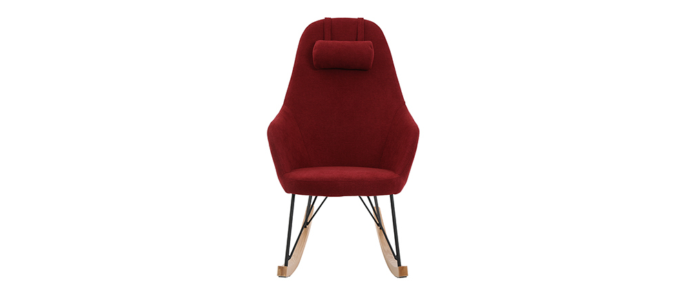 Rocking chair en tissu effet velours bordeaux avec pieds métal et frêne JHENE