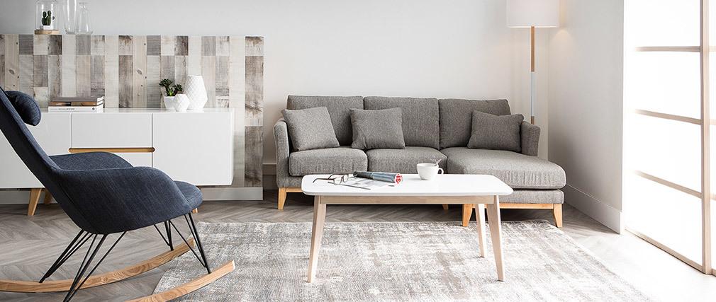 Rocking chair en tissu effet velours gris avec pieds métal et bois JHENE