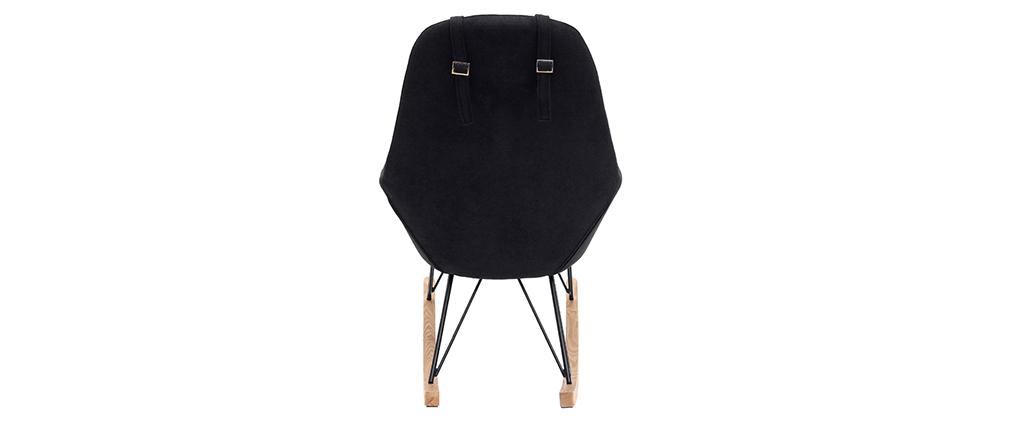 Rocking chair en tissu effet velours noir avec pieds métal et frêne JHENE