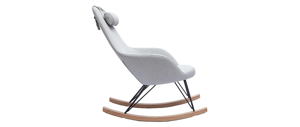 Rocking chair en tissu gris avec pieds métal et frêne JHENE