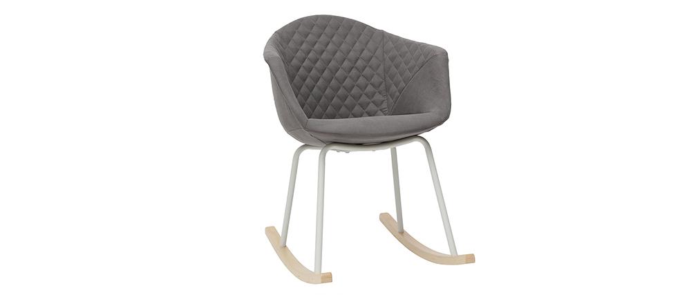 Rocking chair en tissu gris clair et métal blanc SWING