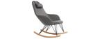 Rocking chair en tissu gris foncé avec pieds métal et frêne JHENE