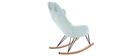 Rocking chair en tissu menthe à l'eau avec pieds métal et frêne JHENE