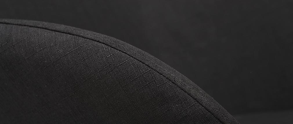 Rocking chair en tissu noir avec pieds métal et frêne JHENE