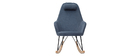 Rocking chair en tissu velours bleu avec pieds métal et bois JHENE