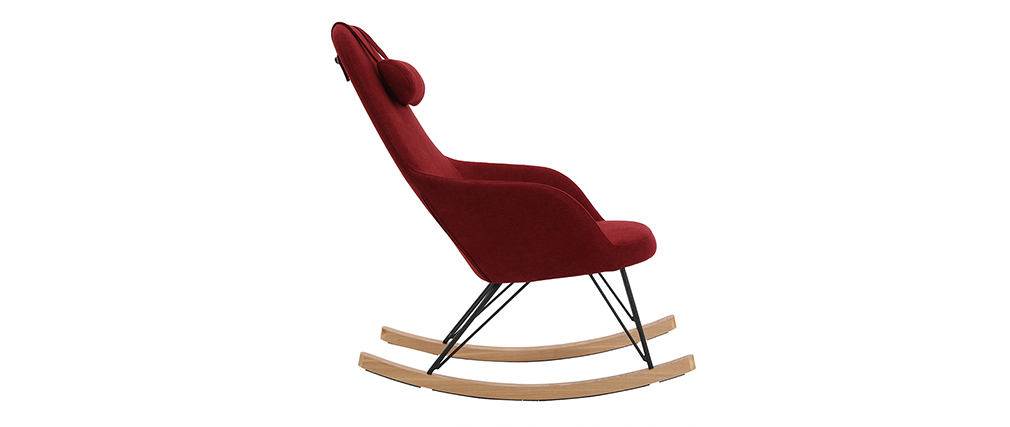 Rocking chair en tissu velours bordeaux avec pieds métal et frêne JHENE