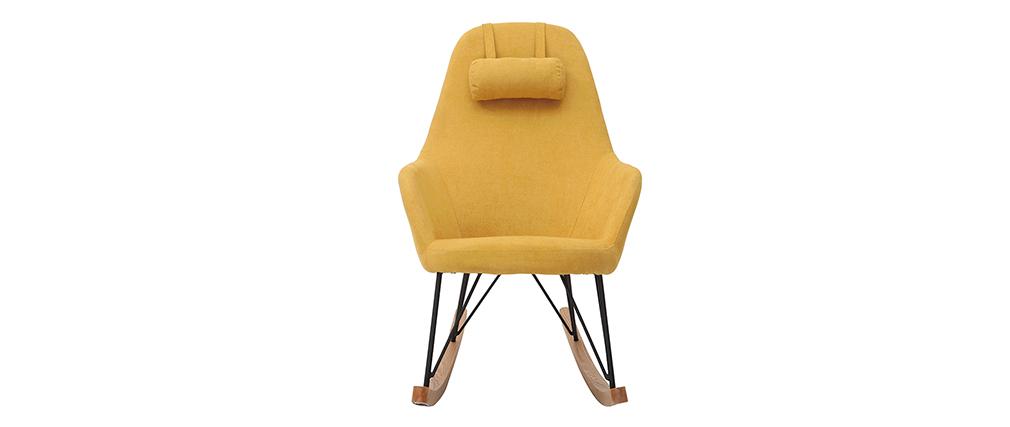 Rocking chair en tissu velours jaune avec pieds métal et bois JHENE