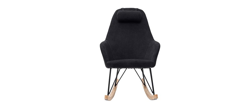 Rocking chair en tissu velours noir avec pieds métal et frêne JHENE