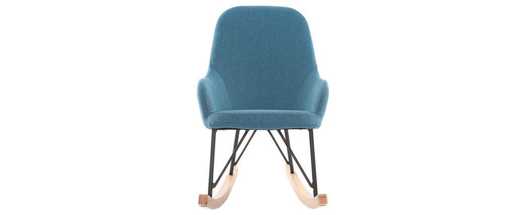 Rocking chair enfant tissu bleu pieds métal et frêne JHENE