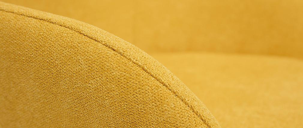 Rocking chair enfant tissu effet velours jaune moutarde pieds métal en frêne JHENE