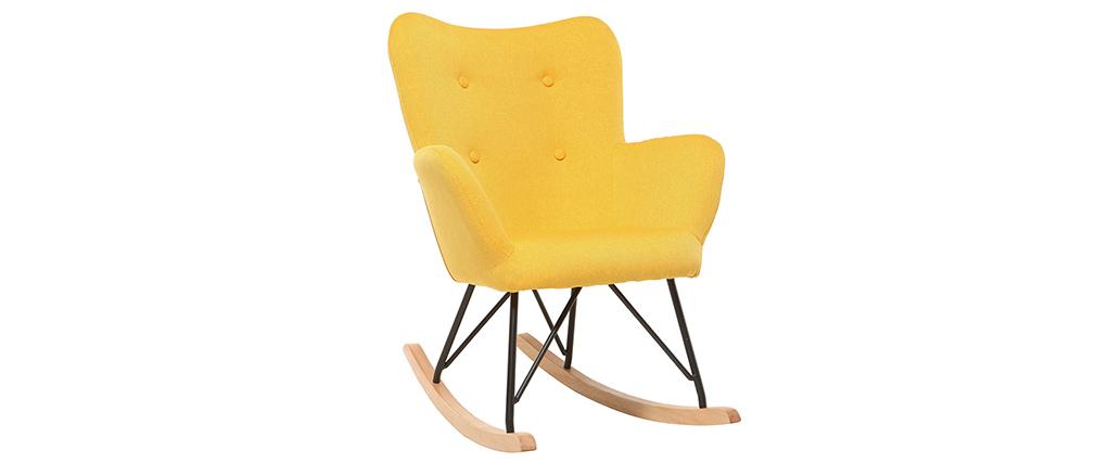 Rocking chair enfant tissu jaune pieds métal et chêne BABY BRISTOL