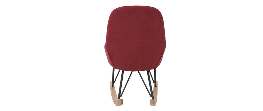 Rocking chair enfant tissu velours bordeaux pieds métal et bois JHENE