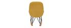 Rocking chair enfant tissu velours jaune pieds métal en frêne JHENE