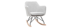 Rocking chair scandinave en tissu gris clair ALEYNA