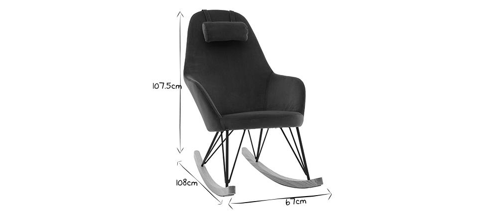 Rocking chair scandinave en velours bleu pétrole JHENE