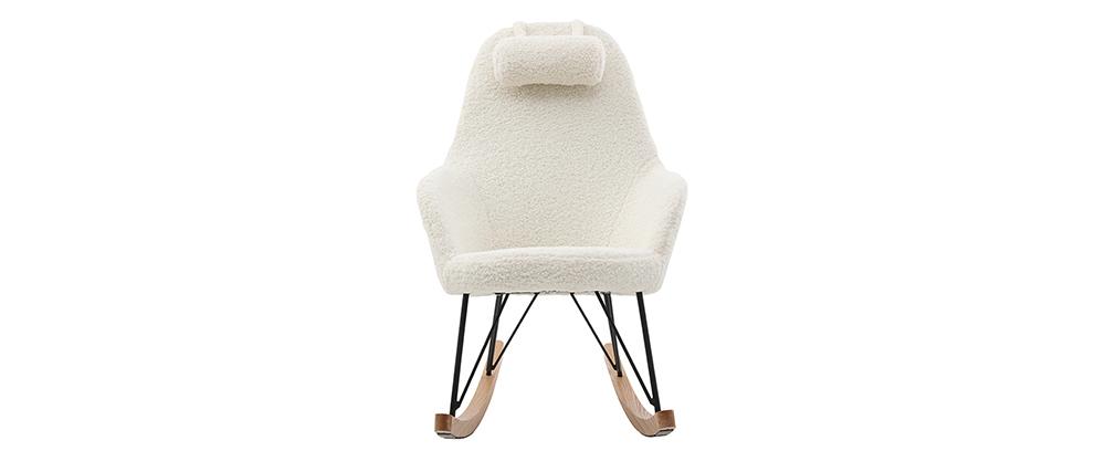 Rocking chair scandinave tissu mouton blanc JHENE - Miliboo & Stéphane Plaza