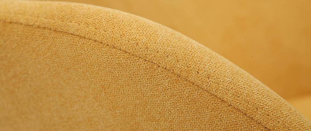 Rocking chair tissu effet velours jaune moutarde avec pieds métal et bois JHENE
