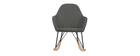 Rocking chair tissu gris anthracite pieds métal et frêne JHENE