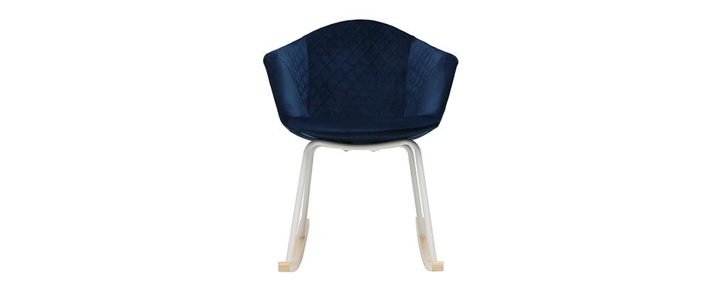 Rocking chair velours bleu foncé et métal blanc SWING