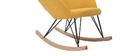 Rocking chair velours jaune avec pieds métal et bois JHENE