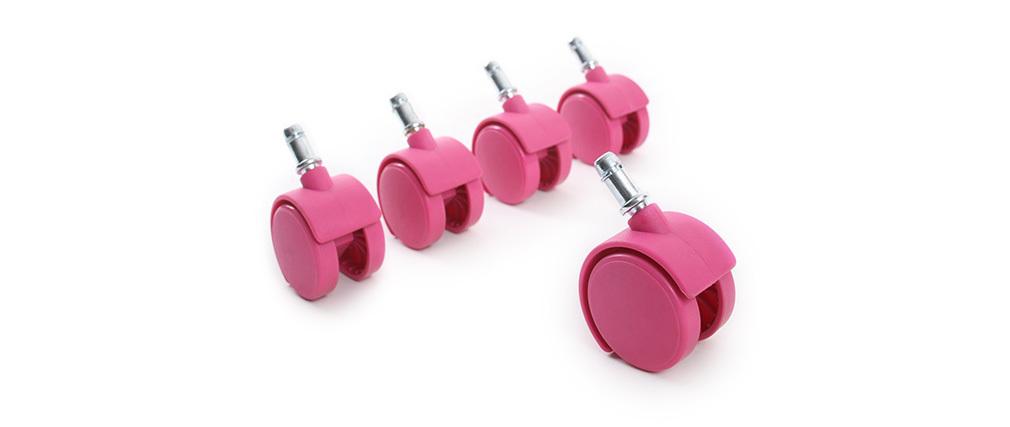 Roulettes fauteuil de bureau rose (lot de 5)