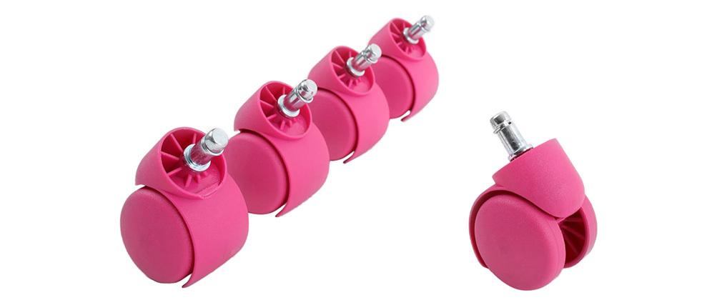 Roulettes fauteuil de bureau roses (lot de 5)