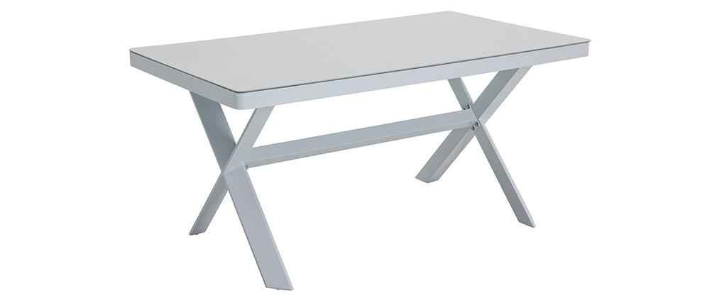 Salon de jardin 7 places avec table à manger en aluminium et tissu gris CALYPSO