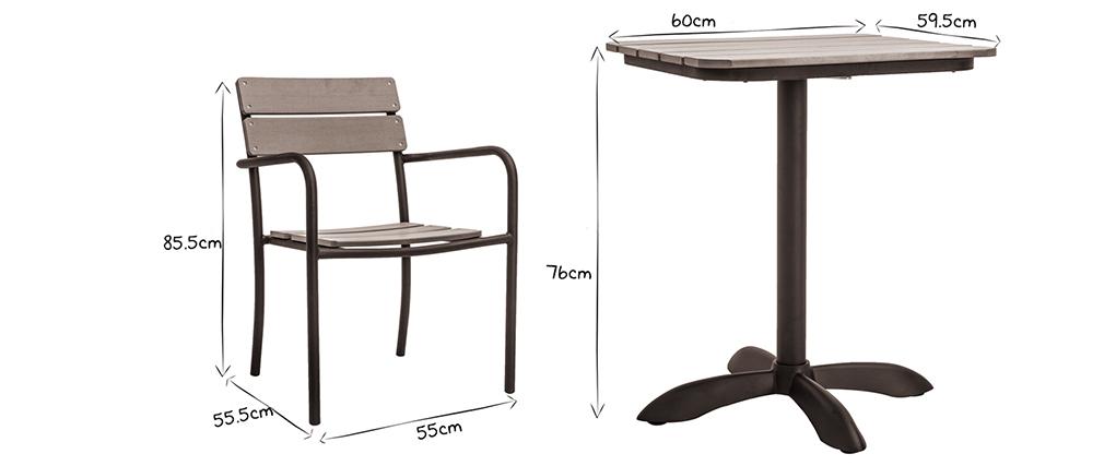 Salon de jardin avec table bistrot et 2 chaises noir et bois PUB ...