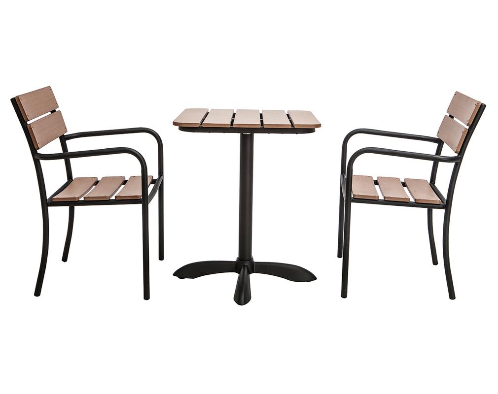 Salon De Jardin Avec Table Bistrot Et 2 Chaises Noir Et Bois