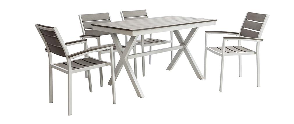 Table Et Gris De Jardin Viaggio Salon Chaises Blanc Miliboo Avec 4 kXuTPOwZil