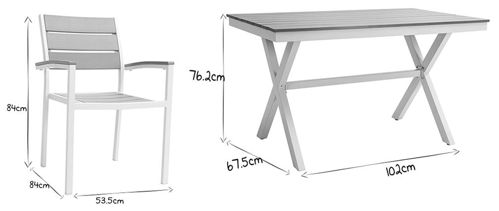 Salon de jardin avec table et 4 chaises blanc et gris VIAGGIO - Miliboo