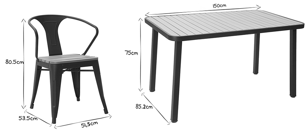 Salon de jardin avec table et 4 chaises empilables bois et m tal noir berliner miliboo - Salon noir et bois ...