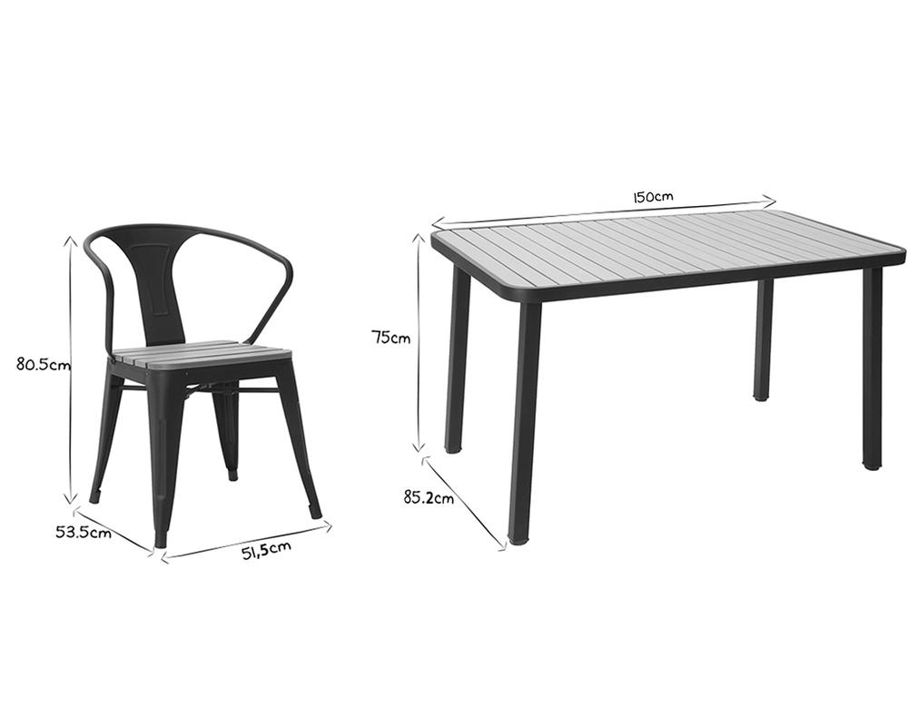 Salon de jardin avec table et 4 chaises empilables bois et ...