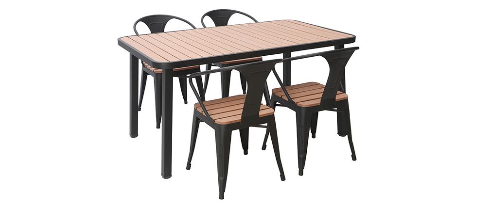 Salon de jardin avec table et 4 chaises empilables bois et métal ...