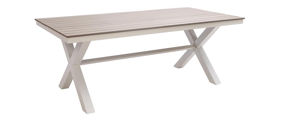 Salon de jardin avec table et 6 chaises empilables blanc et bois VIAGGIO