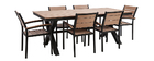 Salon de jardin avec table et 6 chaises empilables noir et bois VIAGGIO