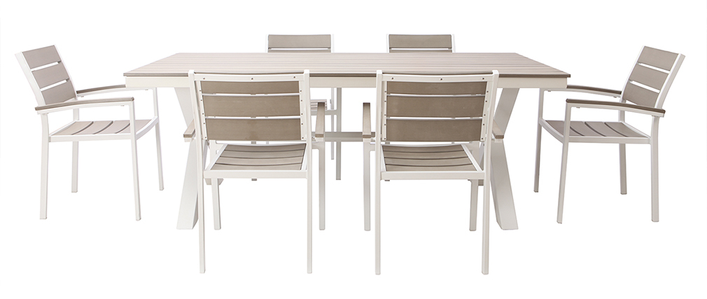 Salon de jardin avec table et 6 chaises en métal blanc et bois gris ...