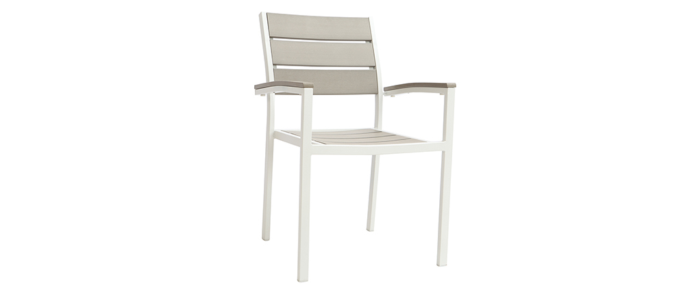 Salon de jardin avec table et 6 chaises en métal blanc et bois gris VIAGGIO
