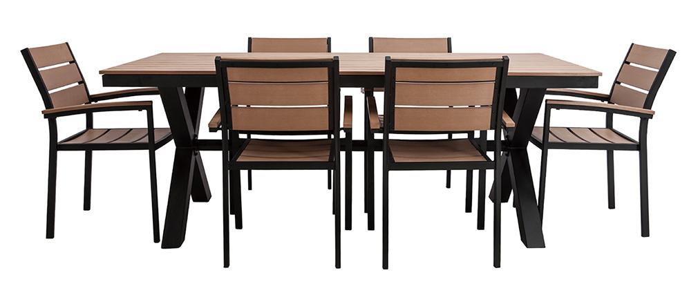 Salon de jardin avec table et 6 chaises noir et bois VIAGGIO