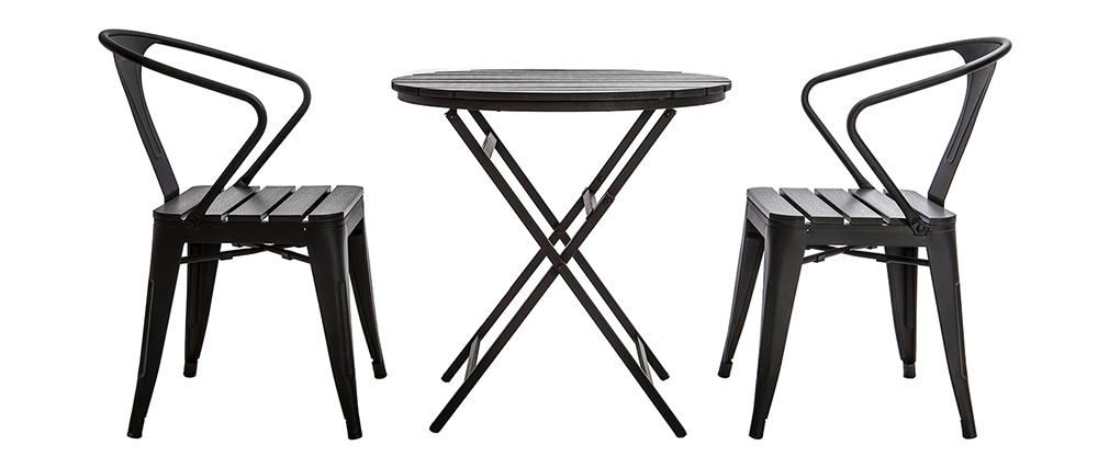 Salon de jardin avec table pliable et 2 chaises empilables bois et ...