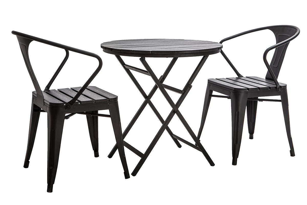 Salon de jardin avec table pliable et 2 chaises empilables ...