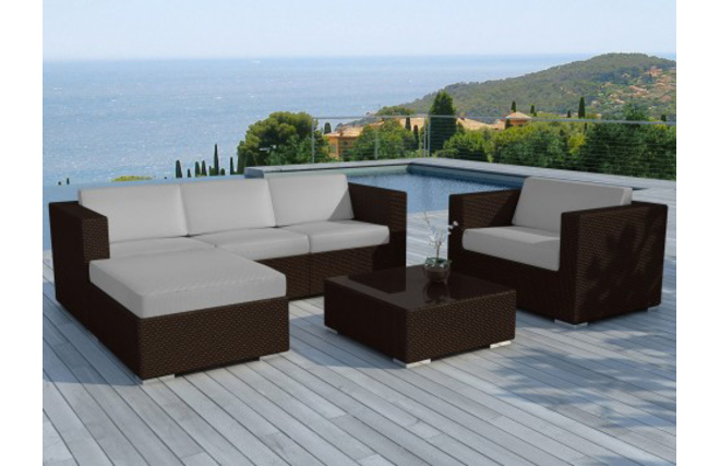 salon de jardin complet r sine tress e chocolat et gris bonifacio miliboo. Black Bedroom Furniture Sets. Home Design Ideas