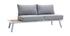 Salon de jardin d'angle en aluminium blanc, teck et tissu gris clair BELLS