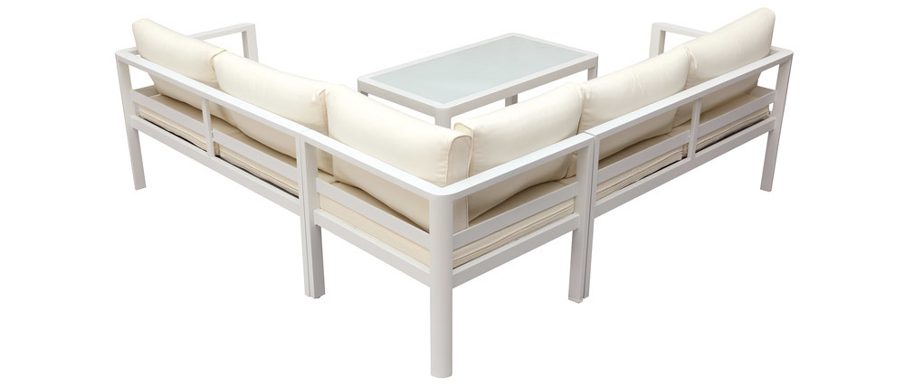 Salon de jardin design blanc avec table basse TONIGHT