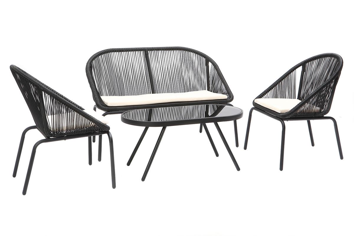 Salon de jardin design en résine noir SUNNY - Miliboo