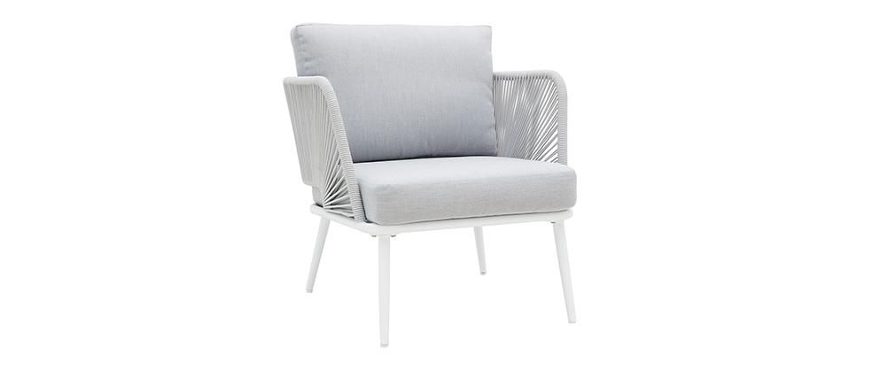 Salon de jardin en aluminium blanc, cordes et tissu gris clair HALONG